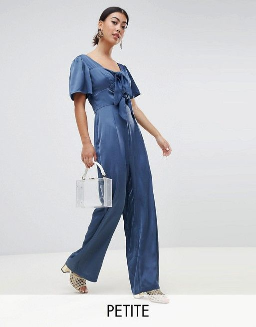 463ed642ab Lost Ink Petite Jumpsuit With Scoop Neck And Bow Front