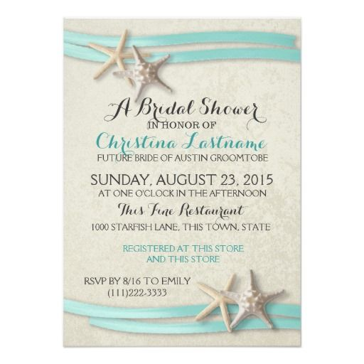 starfish and aqua ribbon beach theme bridal shower invitation select a size and paper type and customize text as preferred