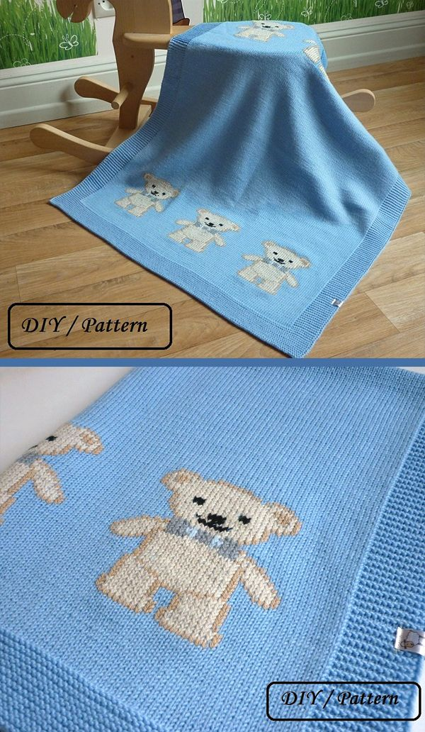 Knitting Pattern for Teddy Bear Baby Blanket - This blanket is knit in stockinette and the teddy bears are added in duplicate stitch, although you could probably also knit them with intarsia if you want. Designed by Le Petit Mouton. DK weight yarn. #babyblanket
