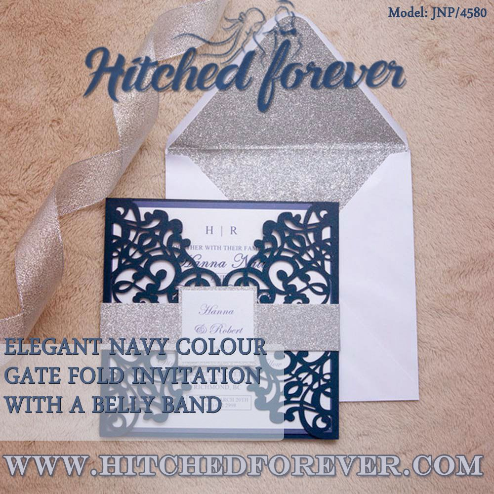 Elegant Navy Colour Gate Fold Invitation With A Belly Band In 2020 Invitations Wedding Cards Indian Wedding Invitations
