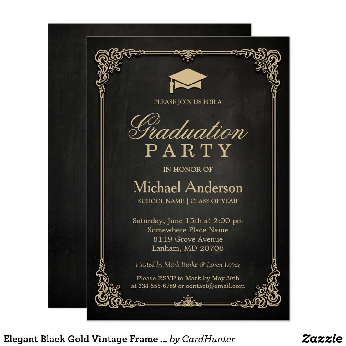 Elegant Black Gold Vintage Frame Graduation Party Invitation ...