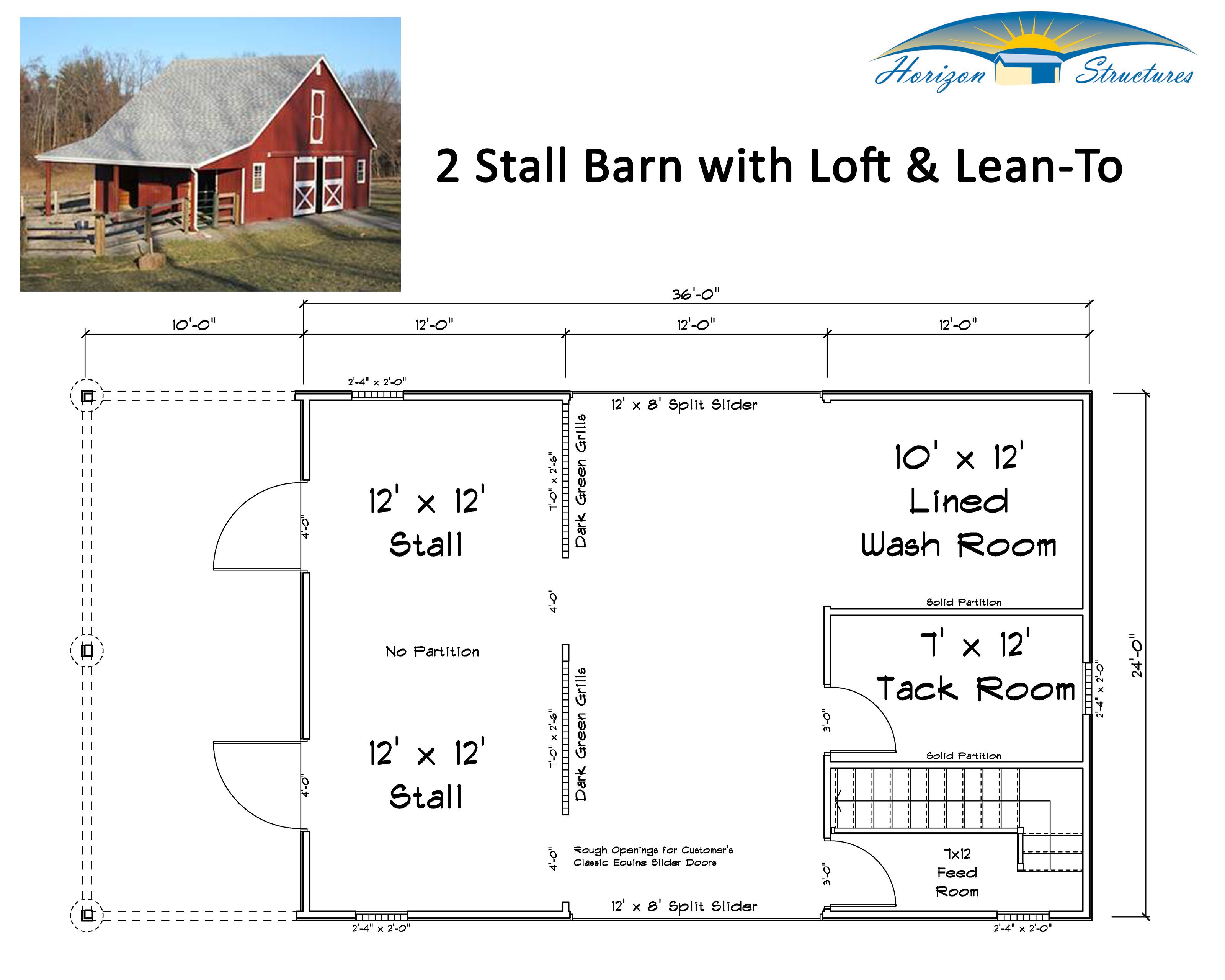 2 or 3 modular barn with loft and lean to delivered in for Horse barn plans free