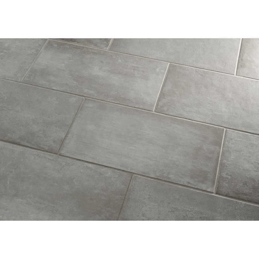 shop style selections cityside gray porcelain floor tile common 12 in x 24 in actual. Black Bedroom Furniture Sets. Home Design Ideas