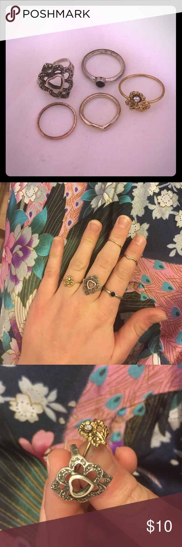 5 ring and midi-ring bundle! Includes 2 midi rings and 3 size 7 rings. All really cute but not amazing quality, hence the bundle! 💍💍💍💍💍 Jewelry Rings