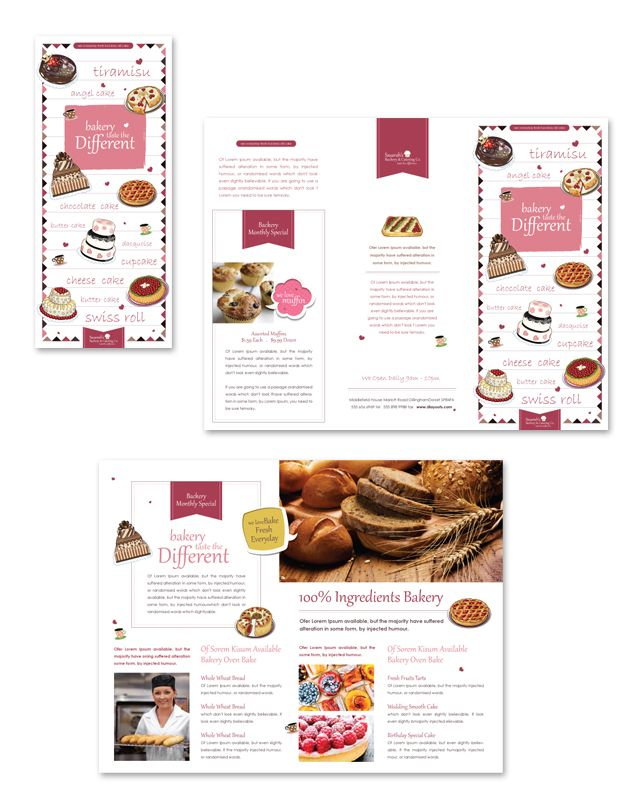 decorative bakery tri fold brochure template editorial pinterest