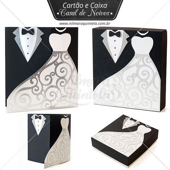 99da4534ed72 Card and Box Groom and Bride Pack - 3D box and 2D invitation for wedding -  bridesmaid black white pr