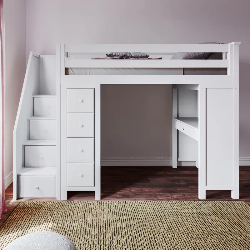 Deshotel Twin Loft Bed With Drawers And Shelves Twin Loft Bed
