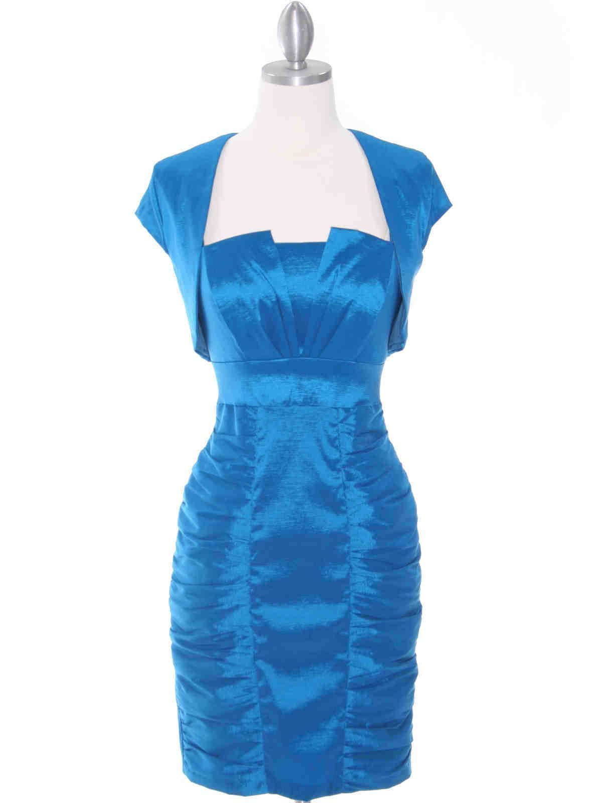 Short fitted cocktail dress with bolero jacket formal dress