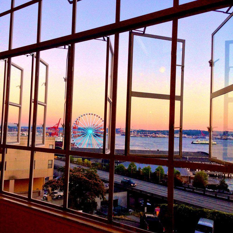 Seattle sunset taken from pikeplacemarket pikeplace pier57wheel