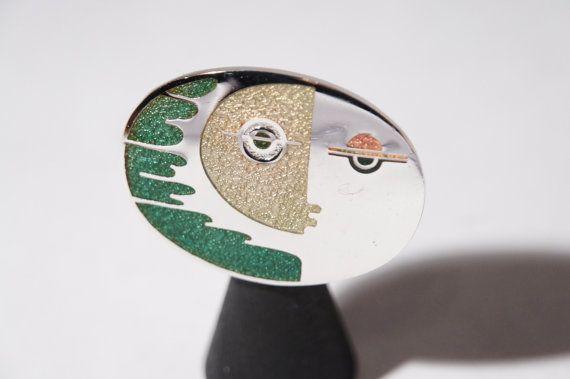 de Passille Sylvestre Enamel Brooch Pin  Partial by LuckyPatina