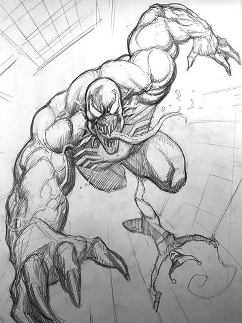 Venom Spiderman Kleurplaten.Frank Cho S 50 Minute Sketch Of Venom And Harley Quinn At The