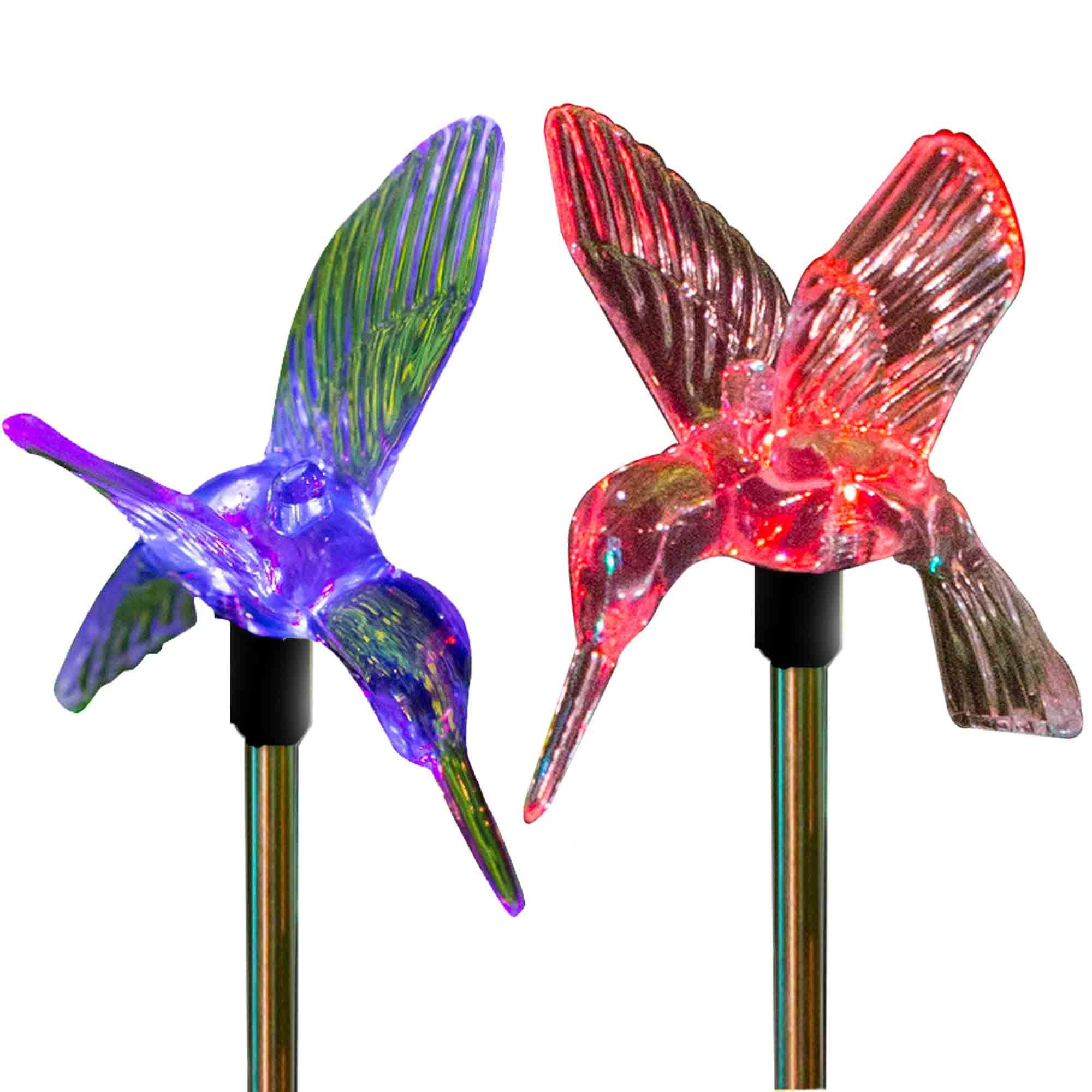 Outdoor Solar Garden Lights Color Changing Hummingbirds Stake Lights (2  Hummingbirds)