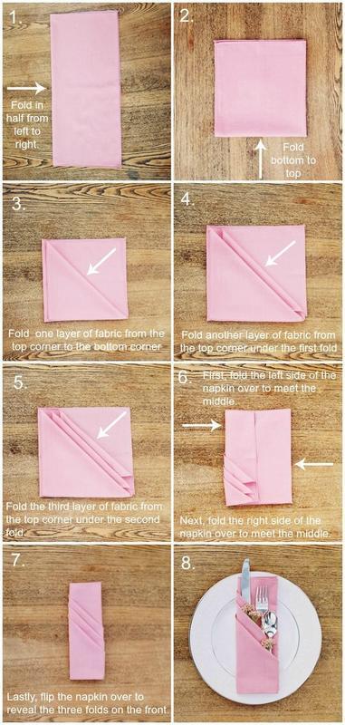 Three Pocket Fold Napkin Tutorial Napkin Folding Tutorial Diy Napkins Cloth Napkin Folding