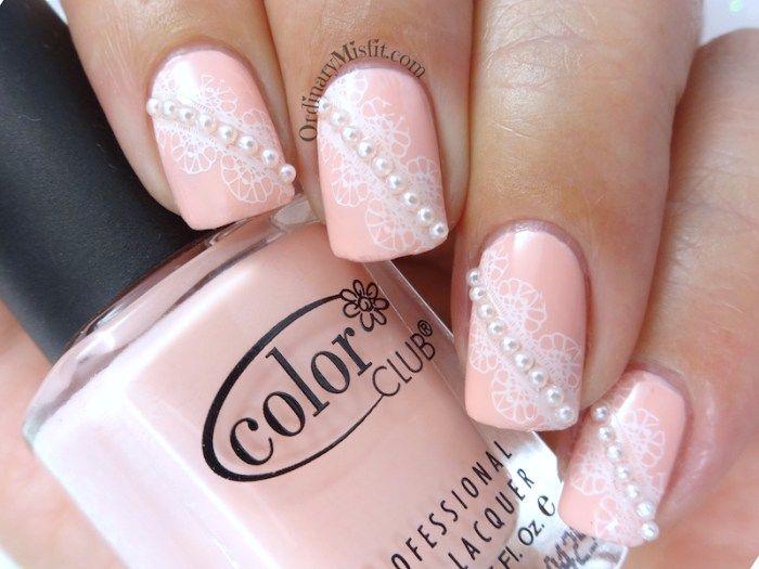 Pearls And Lace Nail Art Ordinarymisfit Nails Pinterest Lace