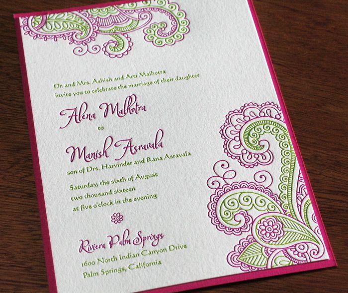 Chandra new spring 2015 design letterpress wedding invitation pink green modern paisley indian wedding invitation with paper layer stopboris Gallery