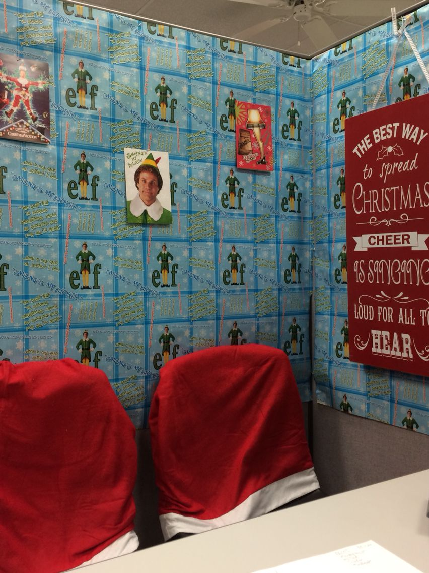 Cubicle Christmas decoration movie corner Elf