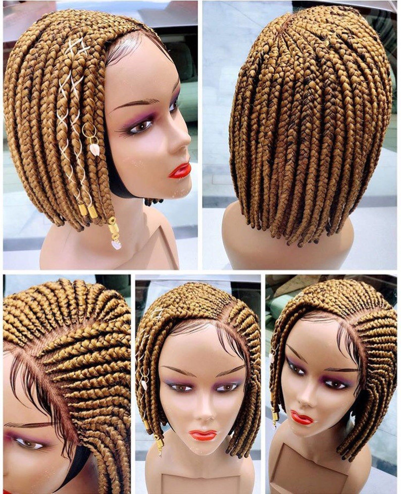 Bob side conrow wig etsy in 2020 braided hairstyles