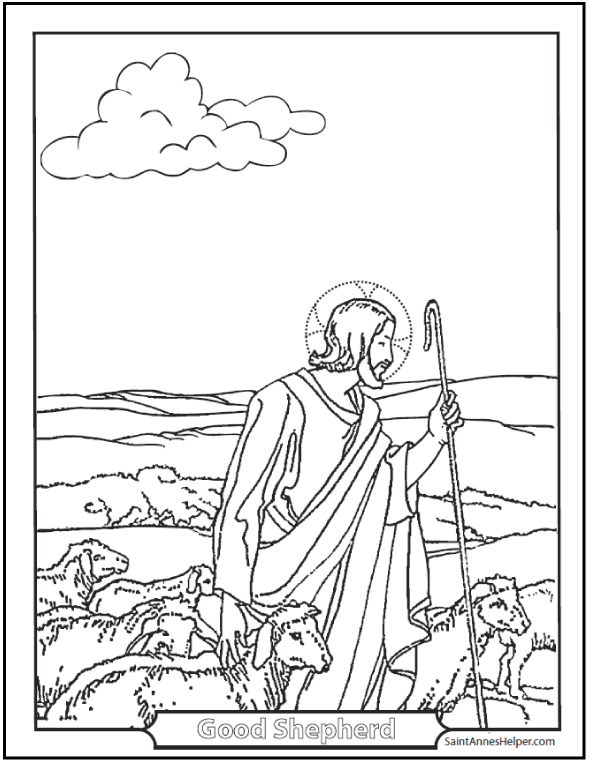 Jesus The Good Shepherd Coloring Page Guarding His Flock Happy Sunday