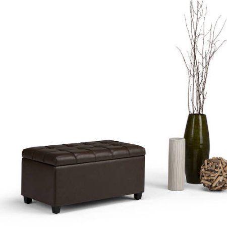 Simpli Home Sienna Storage Ottoman Bench, Brown