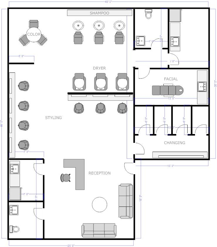 Salon Floor Plan 1 Example Smartdraw Salon Interior Design Room Layout Planner Floor Plan Design