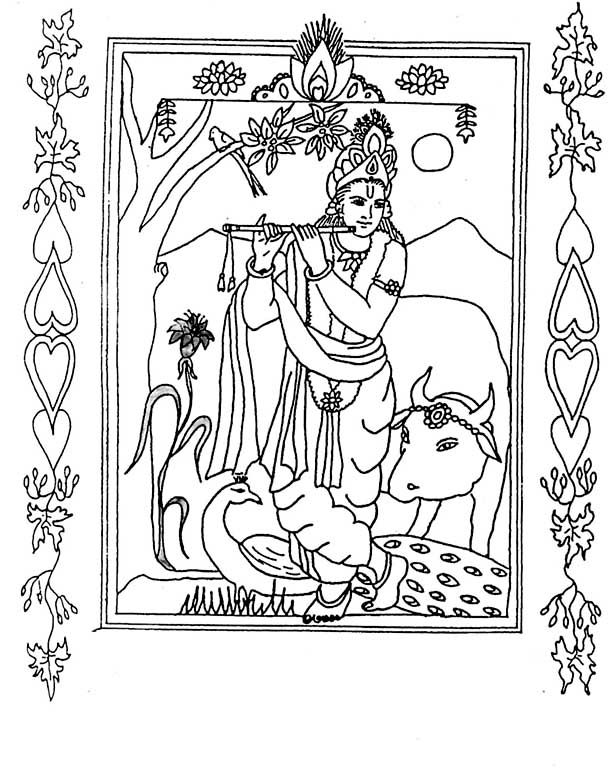 krishna coloring  Google Search  ADULT COLORING PAGES