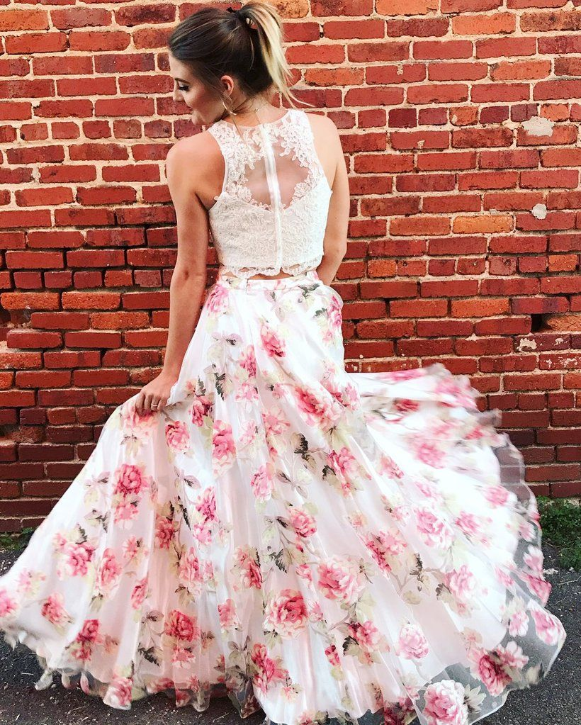 Two pieces prom dresses lace floral beautiful long prom dress