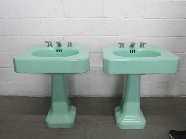 Pair Vintage Porcelain Pedestal Sinks From A Unique Collection Of Antique And Modern Bathroom Fixtures At Htt Pedestal Sinks Bathroom Fixtures Hamptons Decor