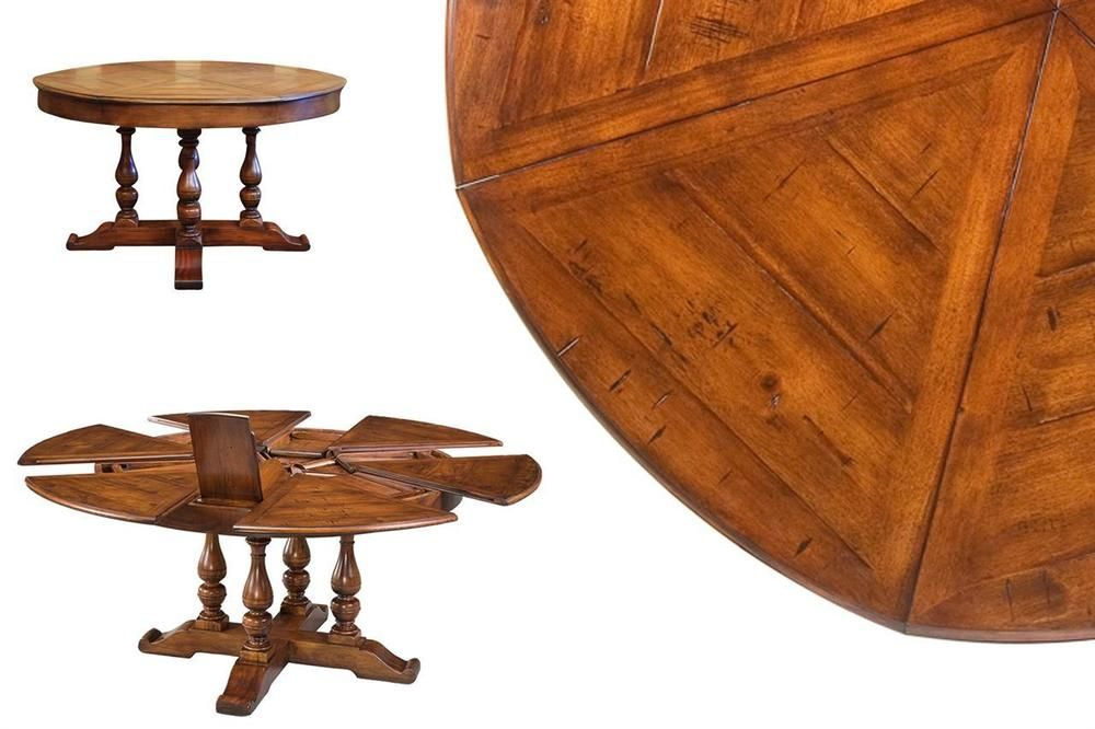 Round To Solid Walnut Jupe Dining Table With Hidden Leaves 70 Inch