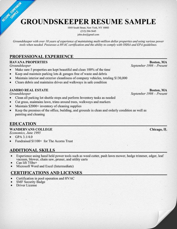 Groundskeeper Resume Example (resumecompanion) Book - resume for construction worker