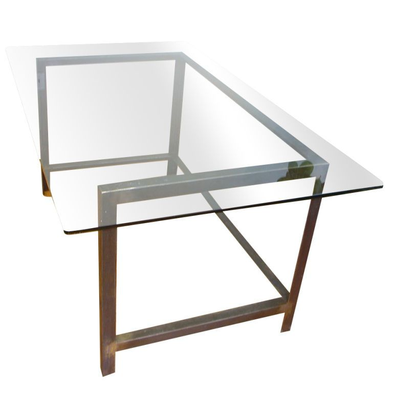 Glass Table Desk Glass Top Industrial Table Or Desk At 1stdibs Industrial Table Glass Table Glass Top