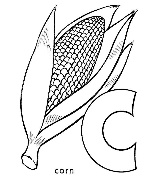 C For Corn Coloring Pages | Kids Coloring Pages ...
