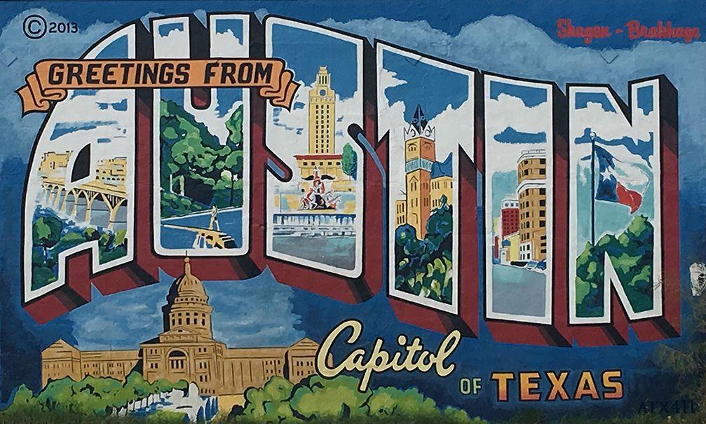 Greetings from austin postcard mural was a labor of love by todd greetings from austin postcard mural was a labor of love by todd sanders and rory skagen m4hsunfo