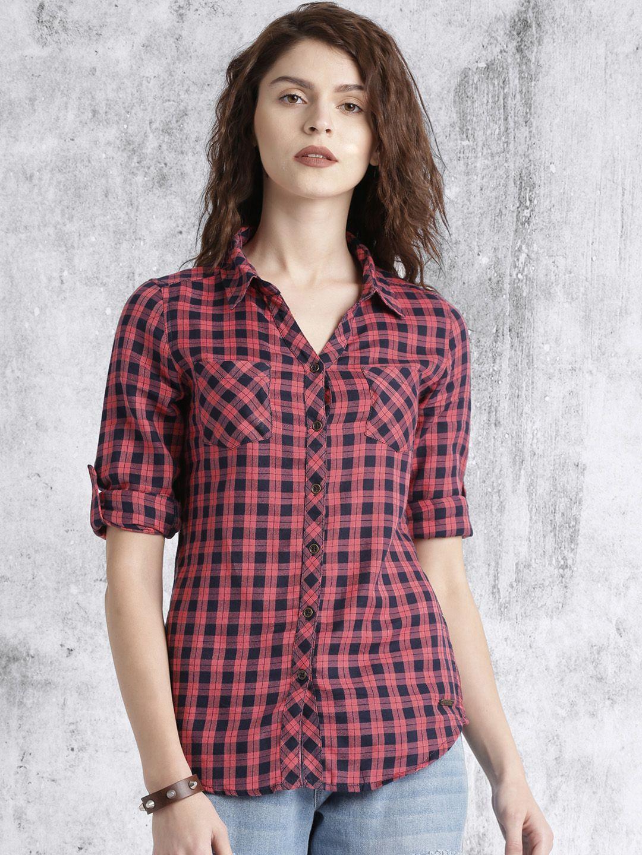 c721a8c4b Buy Roadster Women Pink & Navy Regular Fit Checked Casual Shirt - Shirts  for Women   Myntra