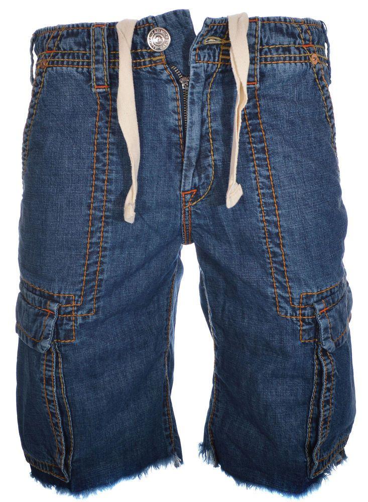 2cd8752c55 True Religion Mens Cargo Cut Off Big T Denim Shorts Size 30 in Dark Stone  NWT #TrueReligion #Cargo