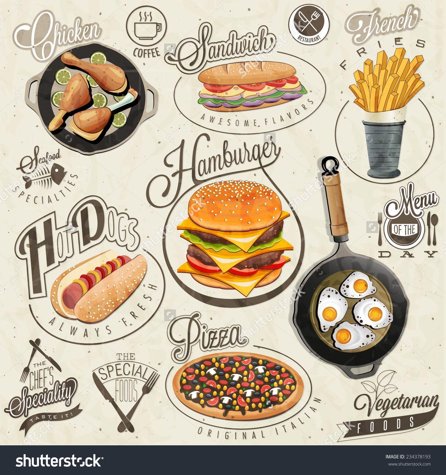 Stock Images Similar To Id 182277182 Retro Vintage Style Fast Food Design De Comida Icones Do Alimento Menu De Comida