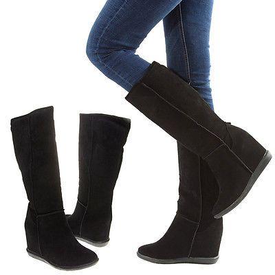 Women Black Round Toe Winter Snow Mid-Calf Knee High Hidden Wedge ...