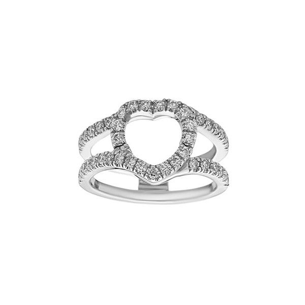 5/8 ct. tw. Diamond Heart Shaped Ring Guard ($1,810) ❤ liked on Polyvore featuring jewelry, rings, i, heart wedding rings, diamond wedding rings, diamond rings, solitaire engagement rings and heart ring