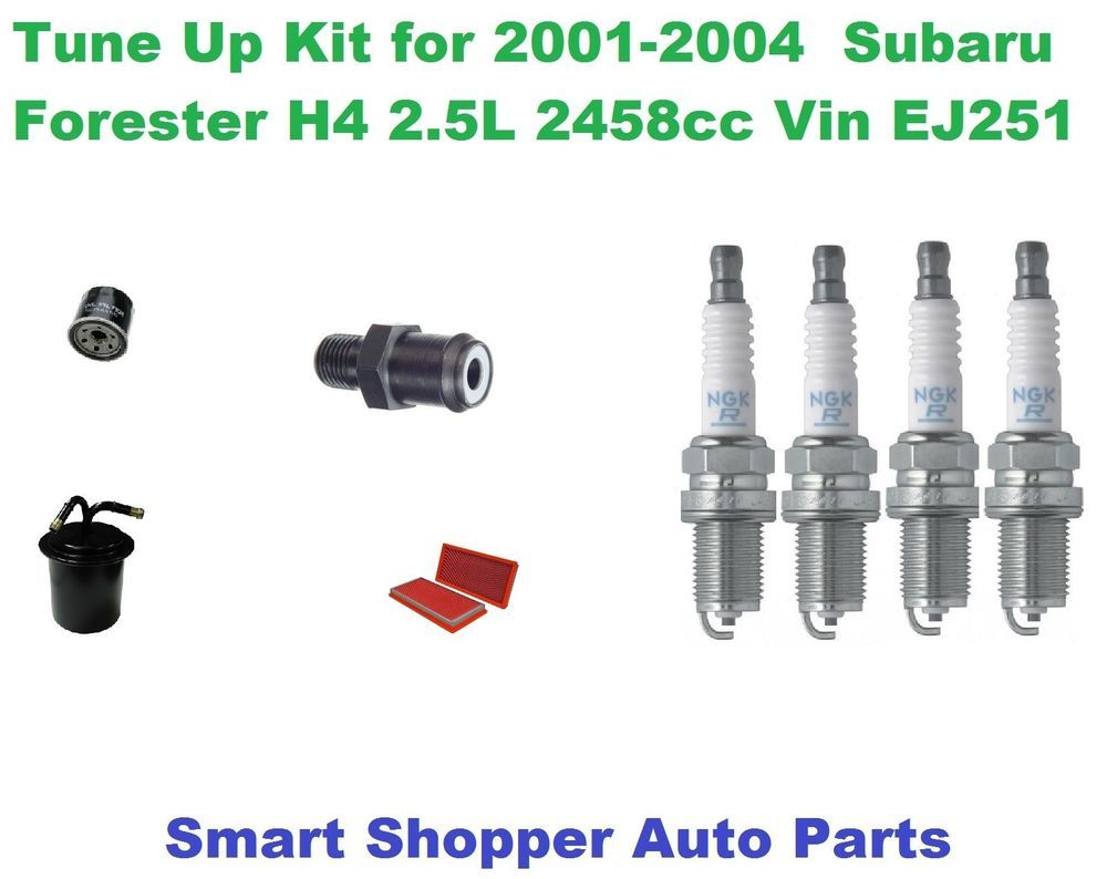 Tune Up Kit For 2001 2004 Subaru Forester Spark Plug Air Fuel Oil Filter