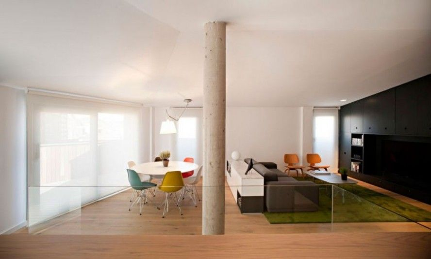Fabulous modern duplex interior space : open floor living plan with