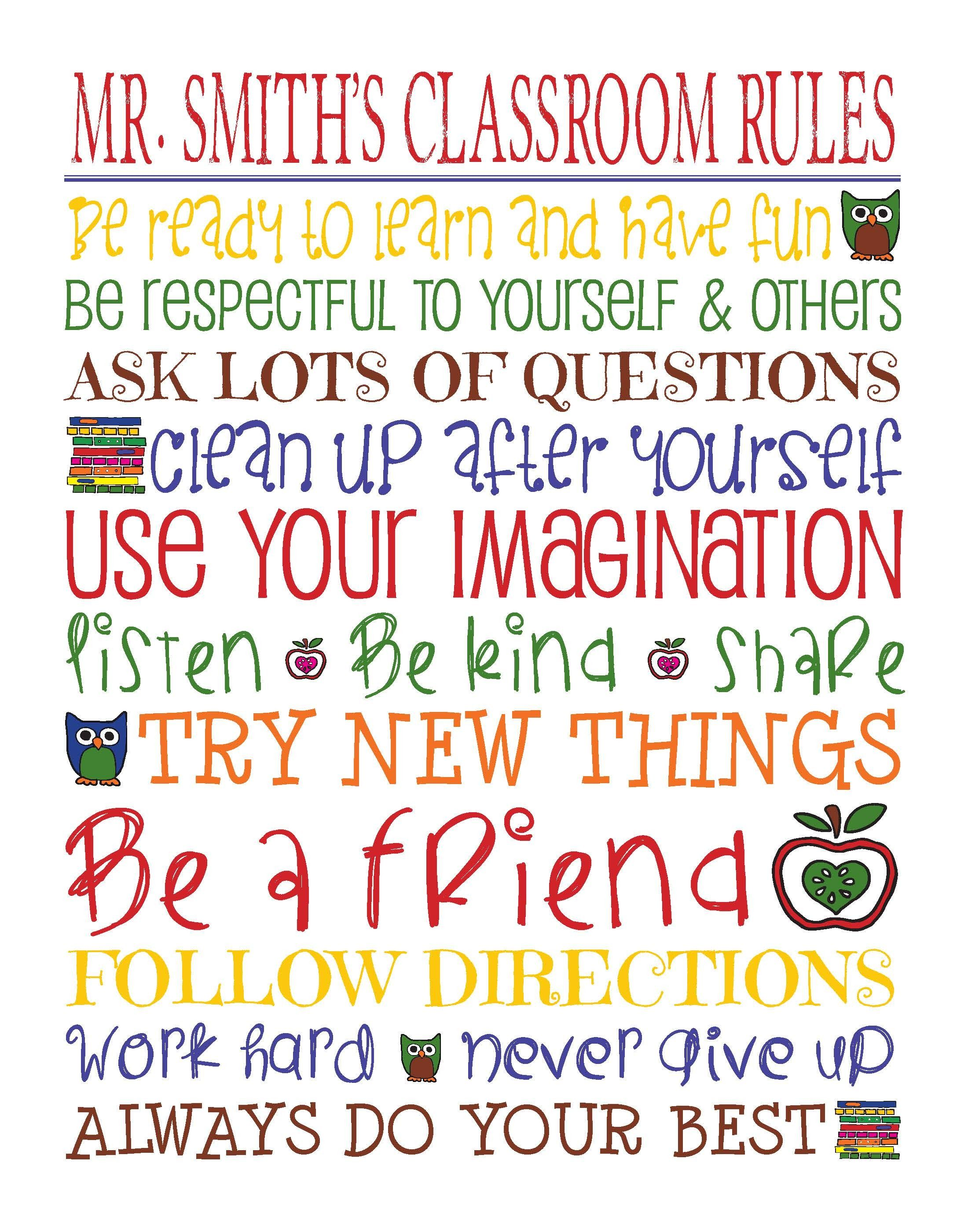 Personalized Classroom Rules House Rules Day Care Rules
