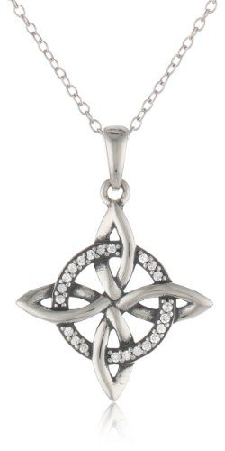 Sterling Silver Oxidized Simulated Diamond Celtic Knot Pendant Necklace, 18″