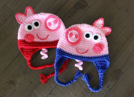 26fc208cd65 Peppa Pig and George Crochet Hats - Handmade to Order - Newborn to Adult