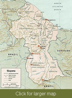 Guyana map Guyana Pinterest