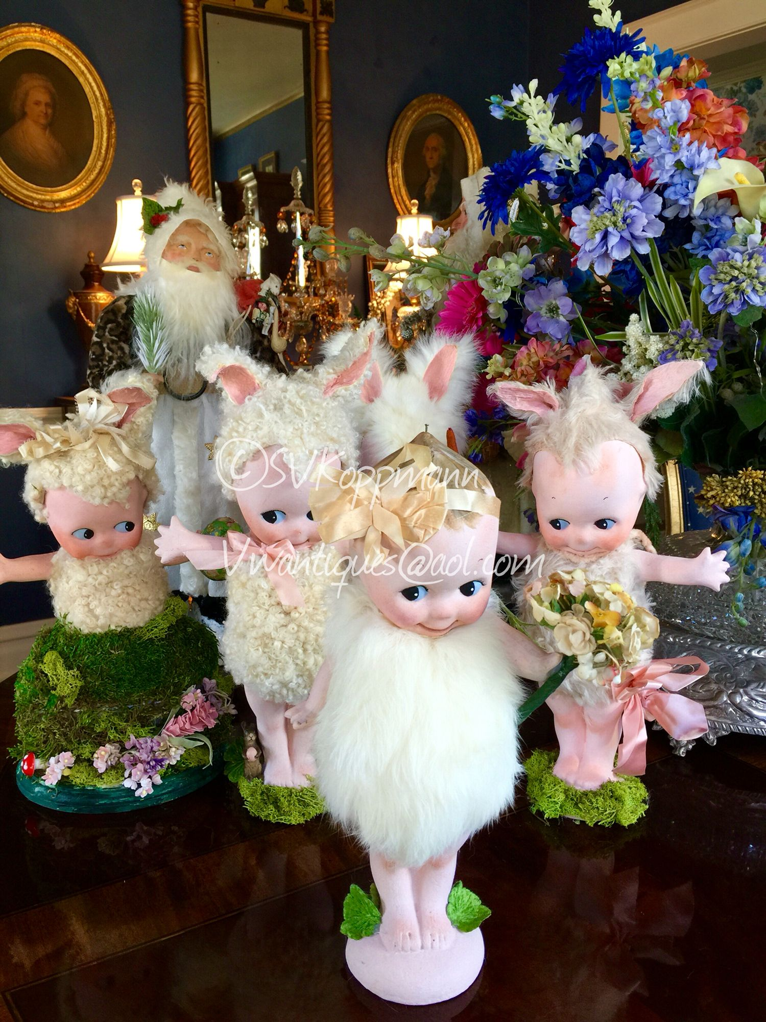 "My recent Easter creations with Kewpies! 12"" tall antique Kewpies. SVKoppmann vwantiques@aol.com"