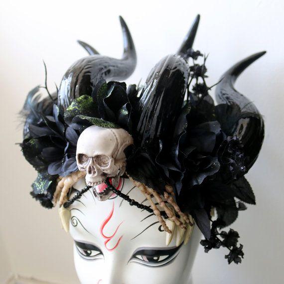 Nightmare Priestess Demon Vegan Horned Headdress por SteamWolf