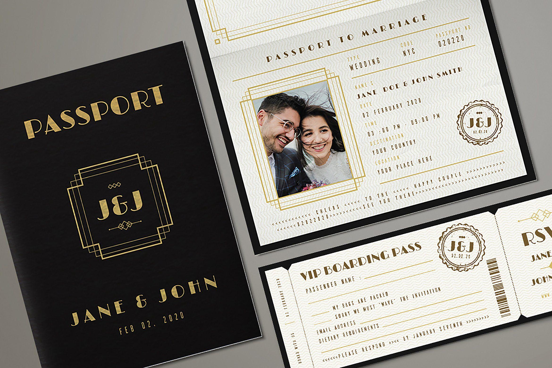 Art Deco Passport Wedding Invitation Passport Wedding Invitations Passport Wedding Wedding Invitation Templates