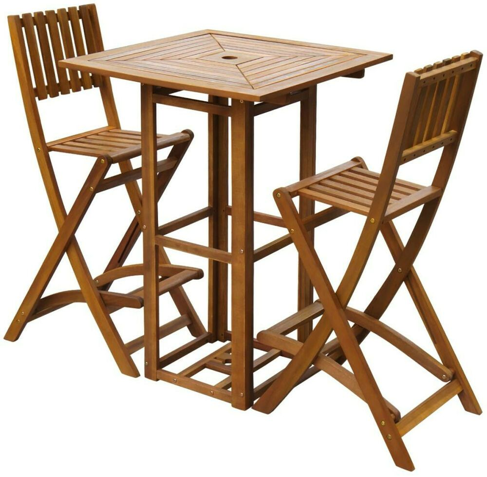 Patio Bistro Set Bar Table 2 High Stool Folding 30 Chair Outdoor