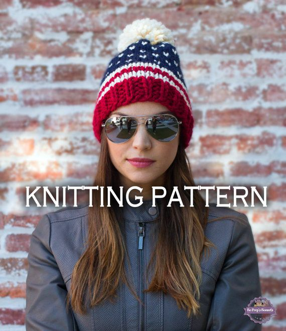 9b80d646a97 This patriotic beanie KNITTING PATTERN is a great beginner lesson in fair  isle and stripes. This is an instant download knitting pattern - a DIY  pattern to ...