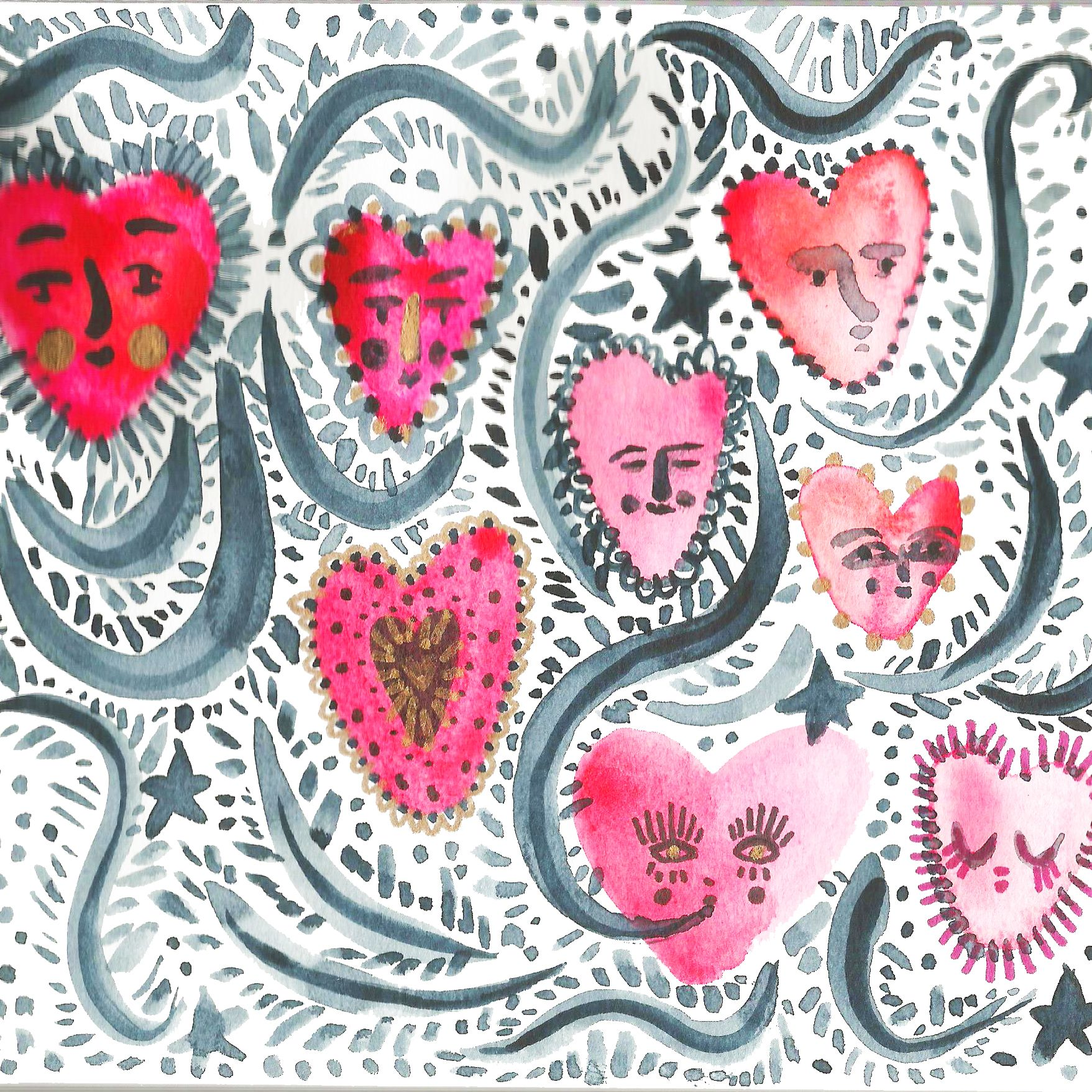 watercolour watercolor love hearts stars pink red & gold