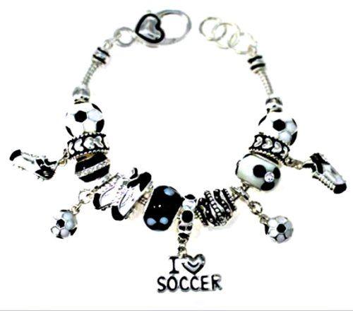 Pandora Style Bracelet Soccer Mom Black Love It Very Much